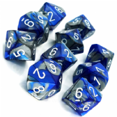 Blue & Steel Gemini D10 Ten Sided Dice Set